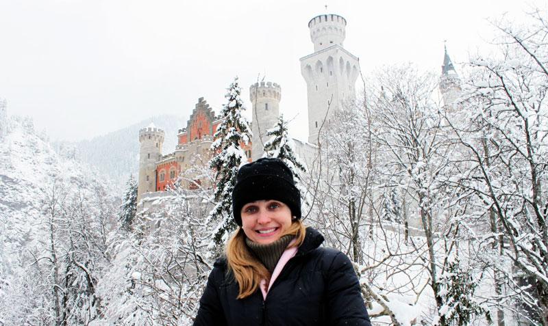 Já no topo da colina, em frente ao castelo de Neuschwanstein