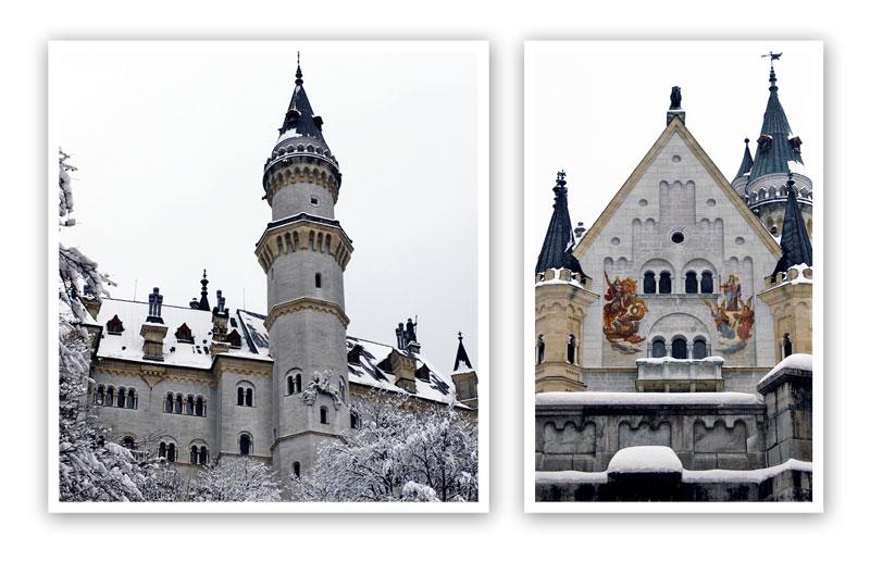 O Castelo de Neuschwanstein em dois ângulos