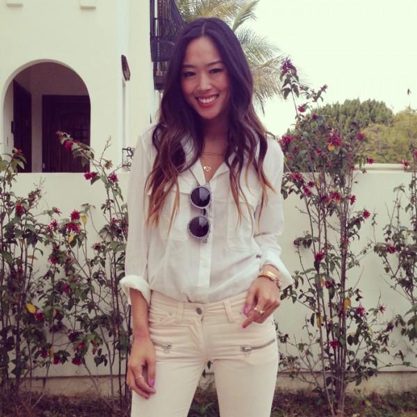 Foto do blog http://songofstyle.blogspot.com.br/ - Usando camisa branca