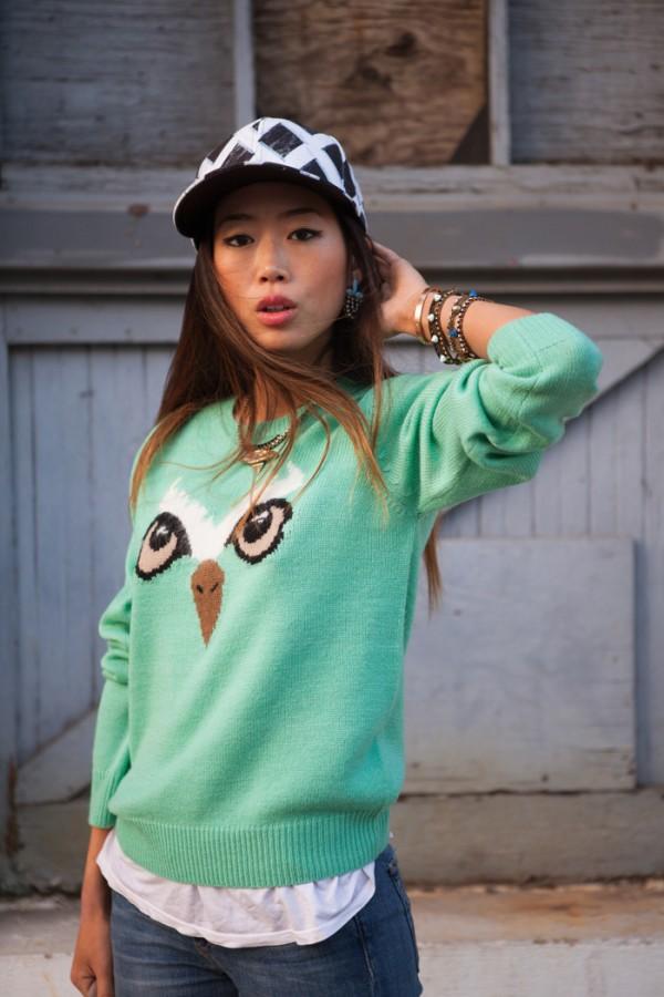 Foto do blog http://songofstyle.blogspot.com.br/ - Usando casaquinho de coruja