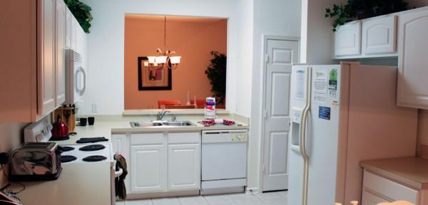 A cozinha da casa alugada