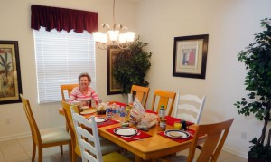 Sala de jantar na casa alugada