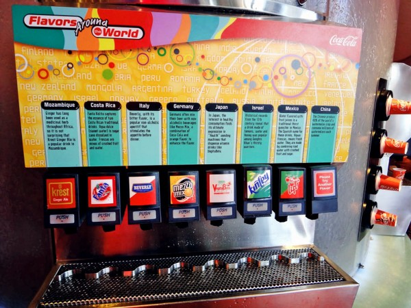 Máquina de refrigerante no Epcot Club Cool