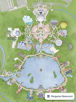 Mapa Pequeno do Epcot World Showcase, destacando o Restaurante Biergarten