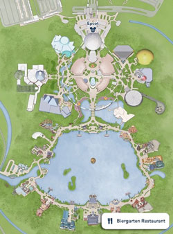 Mapa Pequeno do Epcot World Showcase, destacando o Restaurante Biergarten