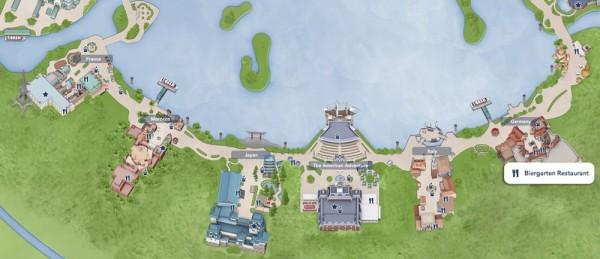 Mapa do Epcot World Showcase, destacando o Restaurante Biergarten