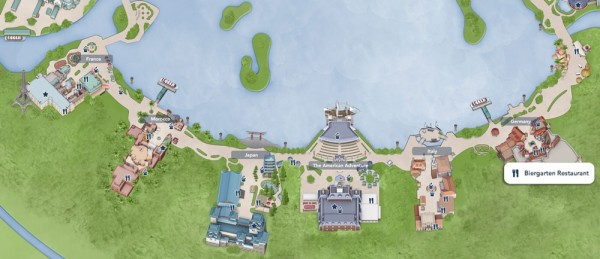 Mapa do Epcot World Showcase, destacando o Restaurante Biergarten