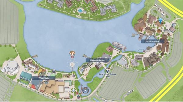 Mapa de Disney Springs - O balão azul claro marca a localização do Earl of Sandwich