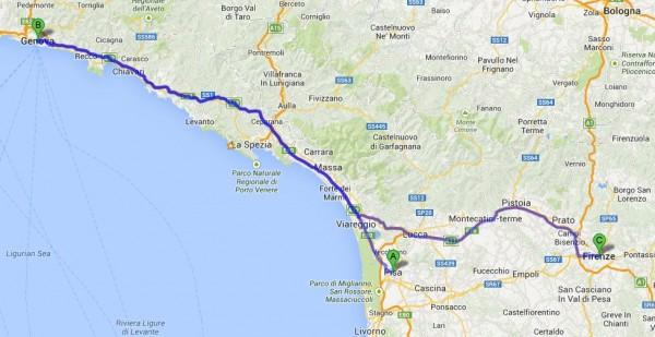 mapa genova pisa florenca 600x309 O que conhecer em Pisa na Itália? Roteiro e dicas para 1 dia de viagem.