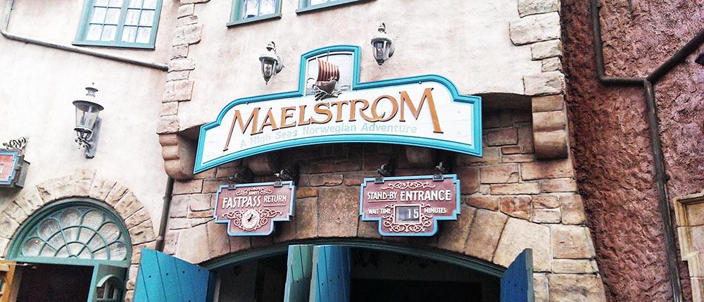 A fachada da atração Maelstrom, que deixará de existir para dar lugar à nova atração Frozen, no parque Epcot