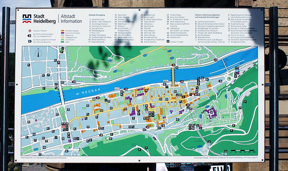 Mapa de Heidelberg, Alemanha