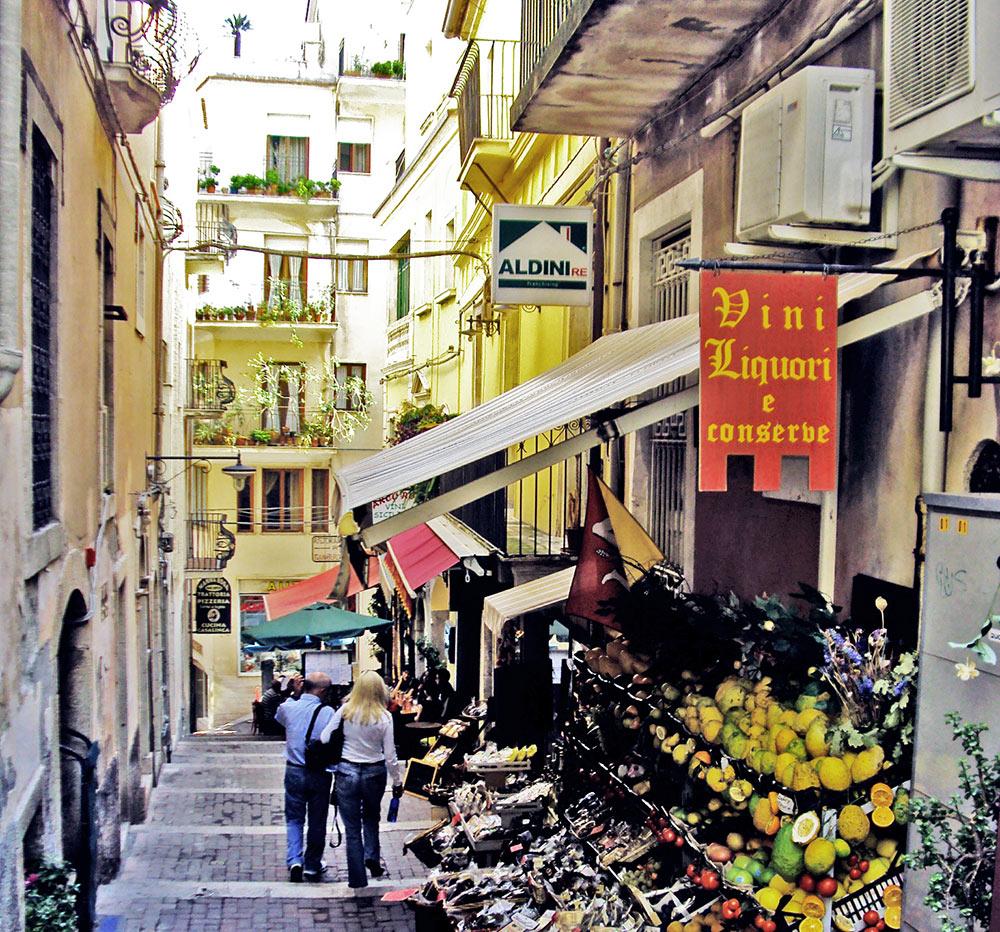 O comércio em Taormina