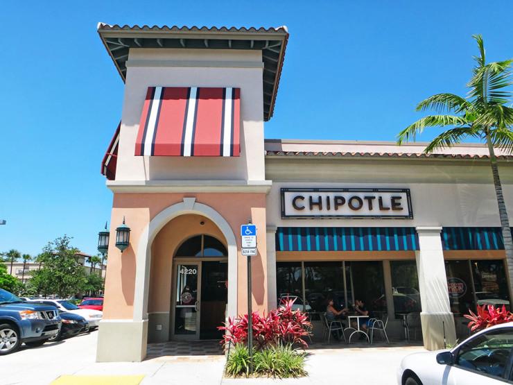 A fachada do Chipotle Mexican Grill nos arredores de Coral Springs, Flórida