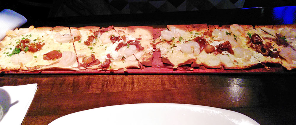 O Shrimp Flatbread da Paty, no Restaurante Kaluz Fort Lauderdale Florida