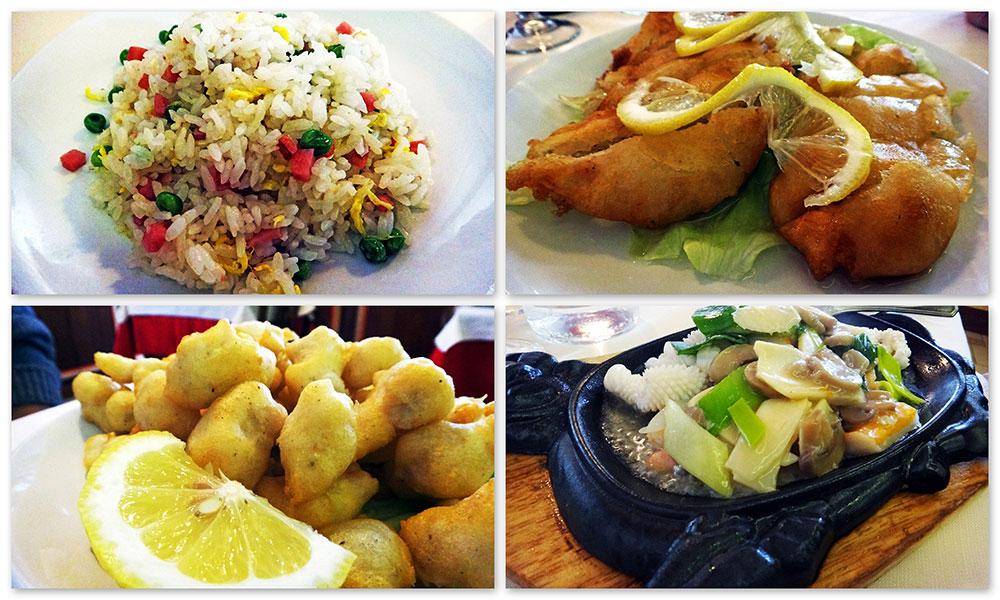 Alguns itens que comemos no restaurante Chinês Grande Shanghai, em Bassano del Grappa